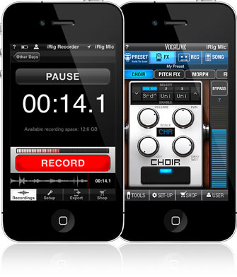 VocaLive and iRig Recorder