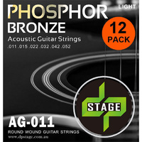 12 X Acoustic Guitar Strings 11-52 Phosphor Bronze Light 12 Pack DP Stage AG011