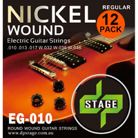 12 X Electric Guitar Strings 10-46 Nickel Wound Regular 12 Pack DP Stage EG010