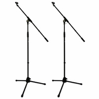 2X Professional Microphone Boom Stands Unbreakable Base Mic Clip 2 Year Warranty