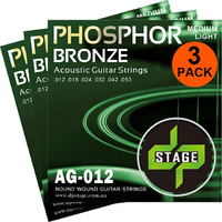 3 X Acoustic Guitar Strings 12-53 Phosphor Bronze Medium Light 3 Pack DP Stage