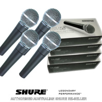 Four Pack Shure SM58 Professional Dynamic Microphone - Authorised Shure Reseller