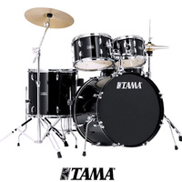Tama Stagestar 5pce Black Drum kit inc 14 16 Cymbal Pack and throne
