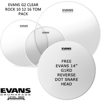Evans G2 Clear Rock Size and 14 inch Reverse Dot Snare Drum pack Level 360 10 12 16 EPP-G2CLR-R
