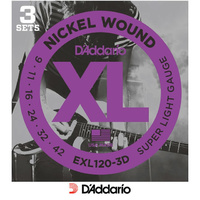 D'addario EXL120 -3D 3 Pack Electric 9-42 Guitar Strings Sets Super Light Daddario