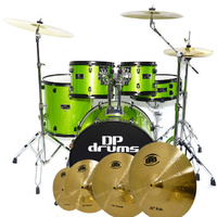 Studio Xtreme 5 Piece Drum Kit BTB20 14 16 20 Cymbal Set Stool Green Sparkle