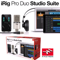 IK Multimedia iRIG Pro Duo Studio Suite Bundle Audio Interface Mic Headphones