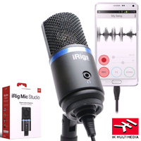 IK Multimedia iRIG MIC Studio Black 1 Inch Condenser Recording Microphone for IOS Andriod PC