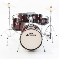 5 Piece Junior Drum Kit Complete Set Cymbals Stool Sticks Wine Red DP Drums New