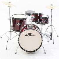 4 Piece Junior Drum Kit Wine Red Complete Kids Set Cymbals Stool Sticks DP Drums