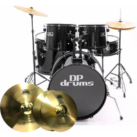 5 Piece Full Size Drum Kit BTB20 Cymbal Upgrade Stool Black DP Drums Starter Plus