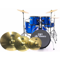 5 Piece Full Size Drum Kit BTB20 4Pce Cymbal Upgrade Stool Blue DP Drums Starter Plus