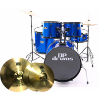 5 Piece Full Size Drum Kit BTB20 Cymbal Upgrade Stool Blue DP Drums Starter Plus