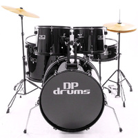 5 Piece Full Size Drum Kit Package Cymbals Stool Black DP Drums Starter Plus