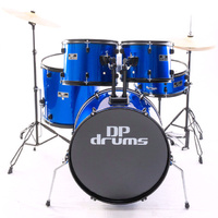 5 Piece Full Size Drum Kit Package Cymbals Stool Blue DP Drums Starter Plus