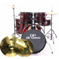 5 Piece Drum Kit Full Size BTB20 Cymbal Upgrade Pack Stool Wine Red DP Drums