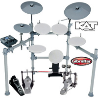 KAT KT2 5 Pce Electronic drum kit with Gibraltar 5711DB Double bass drum ped dual zone pads and cymbals