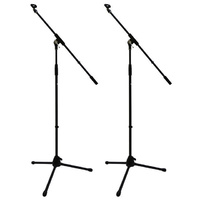 2X Professional Microphone Boom Stands 2 Year Warranty Free Clips DP Stage MS200