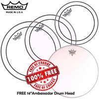 "Remo Clear Pinstripe Drum Head Skin Pack Fusion inc FREE 14"" AMB 10"", 12"", 14""  PP-0110-PS Pro Pack"