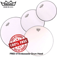 "Remo Coated Emperor Drum Head Skin Pack Fusion Plus inc FREE 14"" AMB 10"", 12"", 16""  PP-1860-BE Pro Pack"