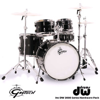 Gretsch RN2 Renown Piano Black Maple 5 Pce Drum Set inc DW 3000 Series Hardware pack