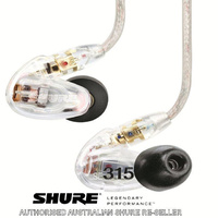Shure SE315 CL Clear In Ear Sound Isolating Full Range IEM Ear phones Buds