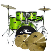 DP Drums Studio Xtreme 5 Piece Drum Kit Set BTB20 Cymbal Set Stool Green Sparkle