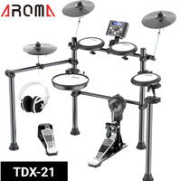 8 Piece Electric Electronic Drum Kit Set Mesh Heads + Headphones Aroma TDX-21
