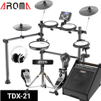 8 Piece Electronic Electric Drum Kit Mesh Heads 40W Amp Stool Headphones Aroma